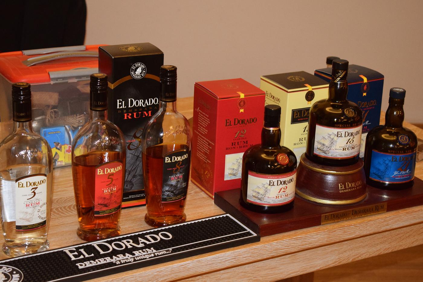 El Dorado Rum flessen op de proeftafel bij Tasting Het Vloeibaar Genot in Heeze