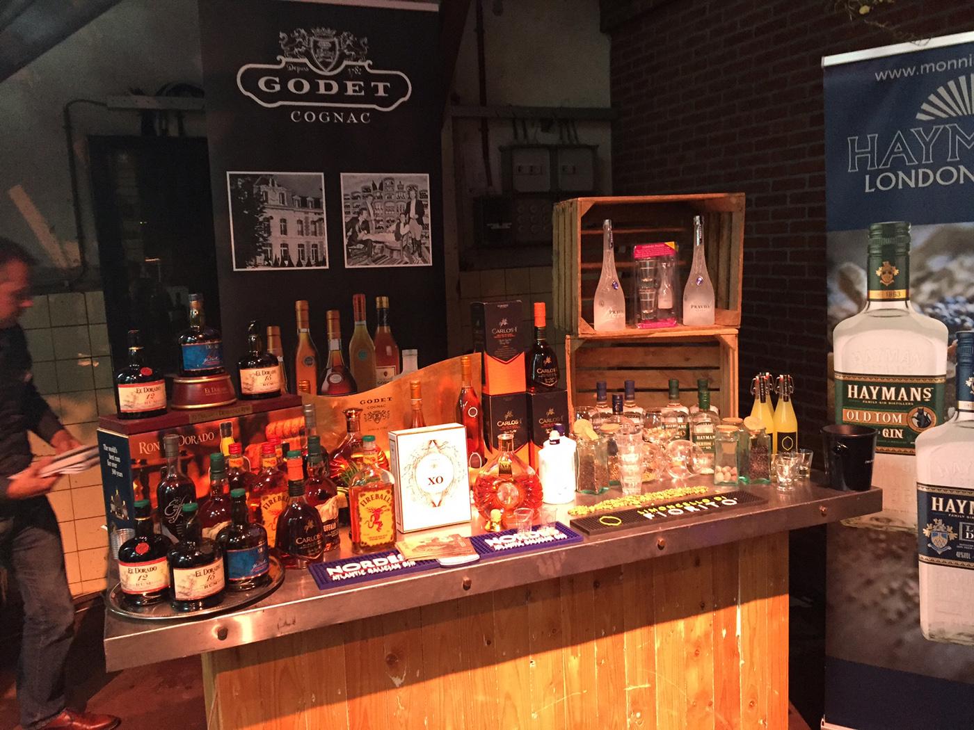 Mitra Ondernemersdag 2017 Stand met El Dorado Rum - Fireball - Hayman's Gin - Godet Cognac - Carlos I en Buffalo Trace