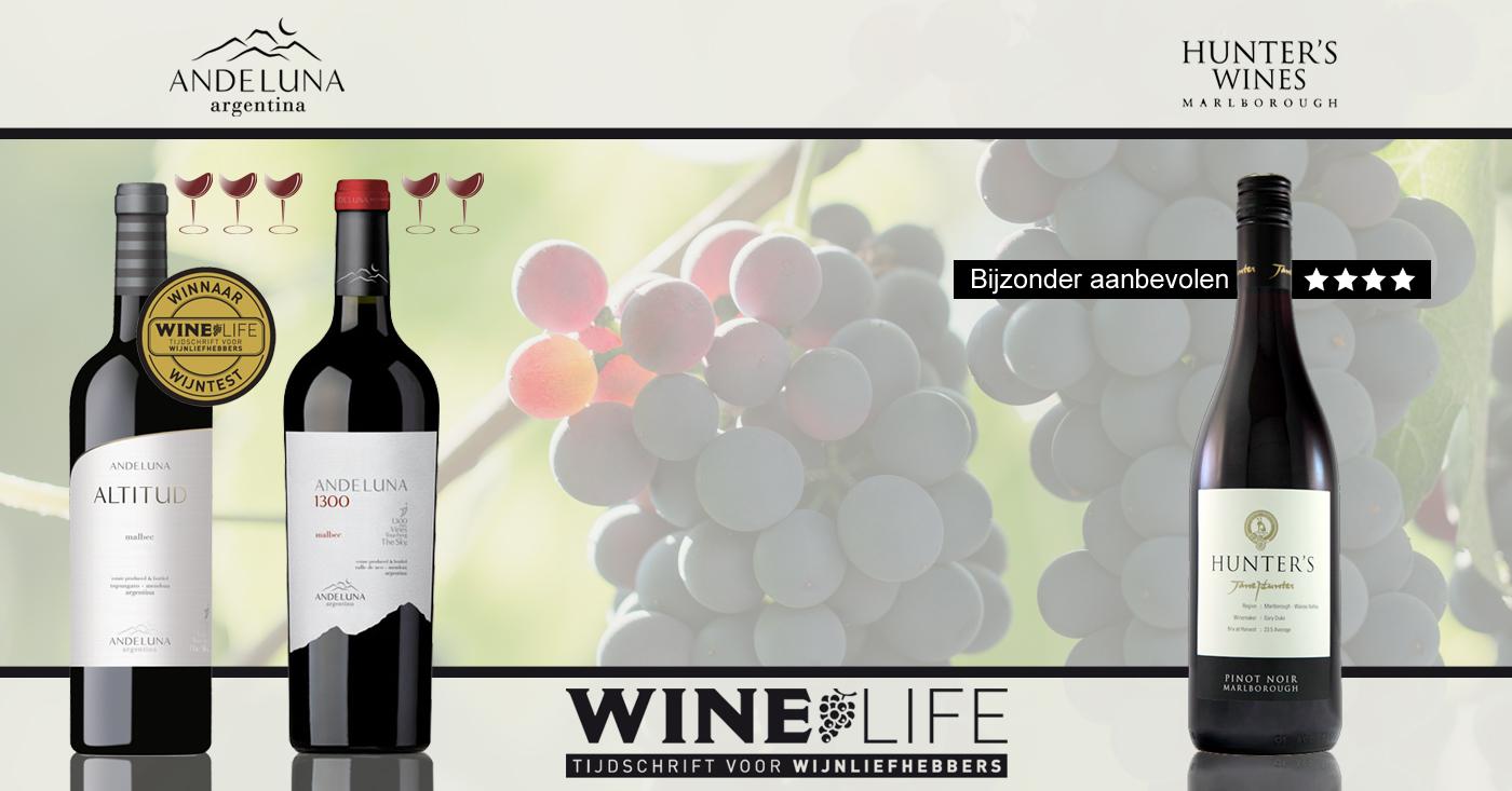 Top beoordelingen voor wijnen Andeluna Cellars en Hunter's in Wine Life Magazine