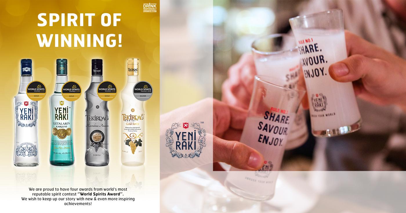 Yeni Raki pakt 3 keer goud en 1 keer zilver op World Spirits Awards 2018