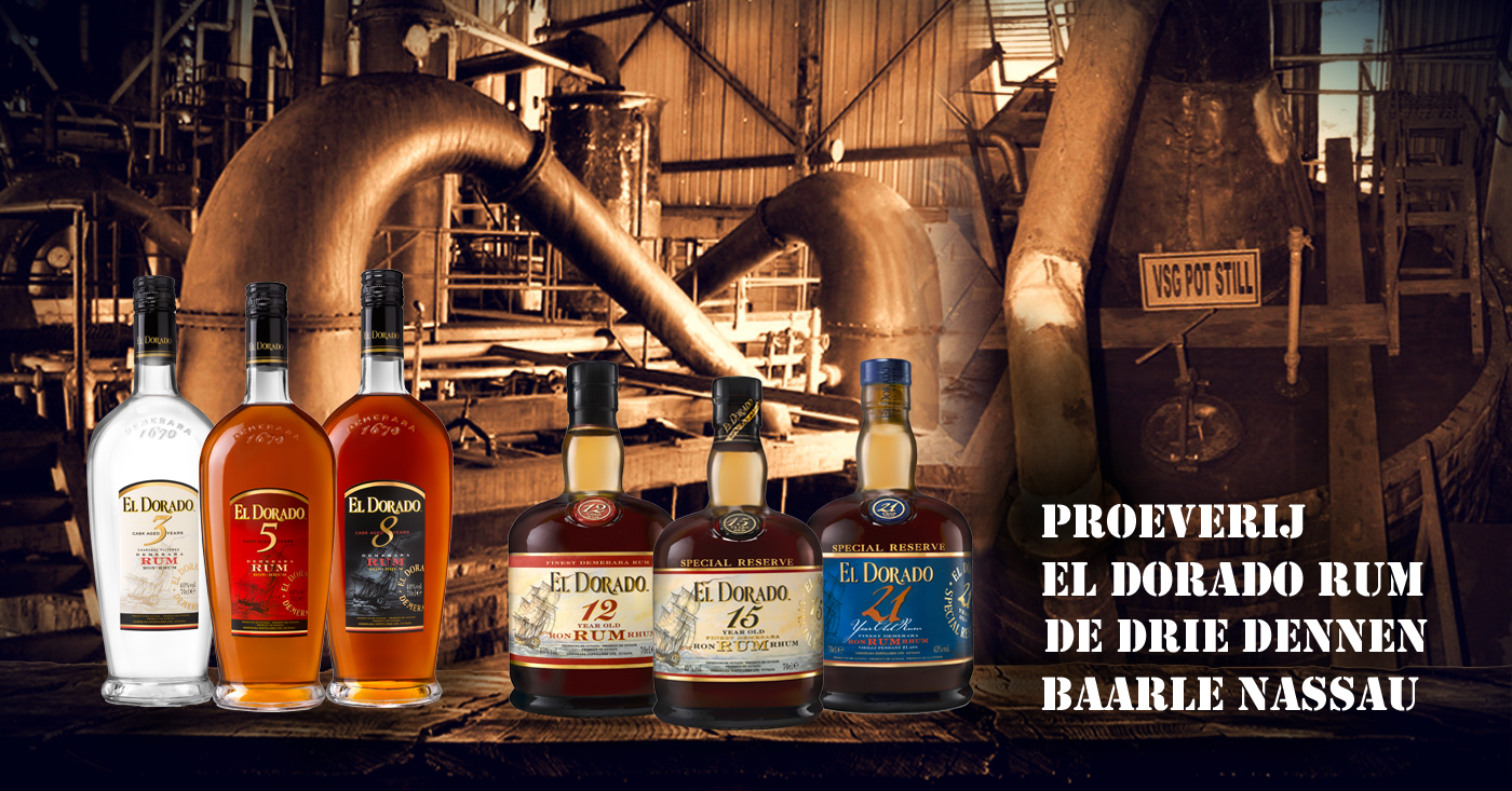 El Dorado Rum van unieke Enmore Wooden Continuous Coffey Still valt in de smaak in Baarle Nassau