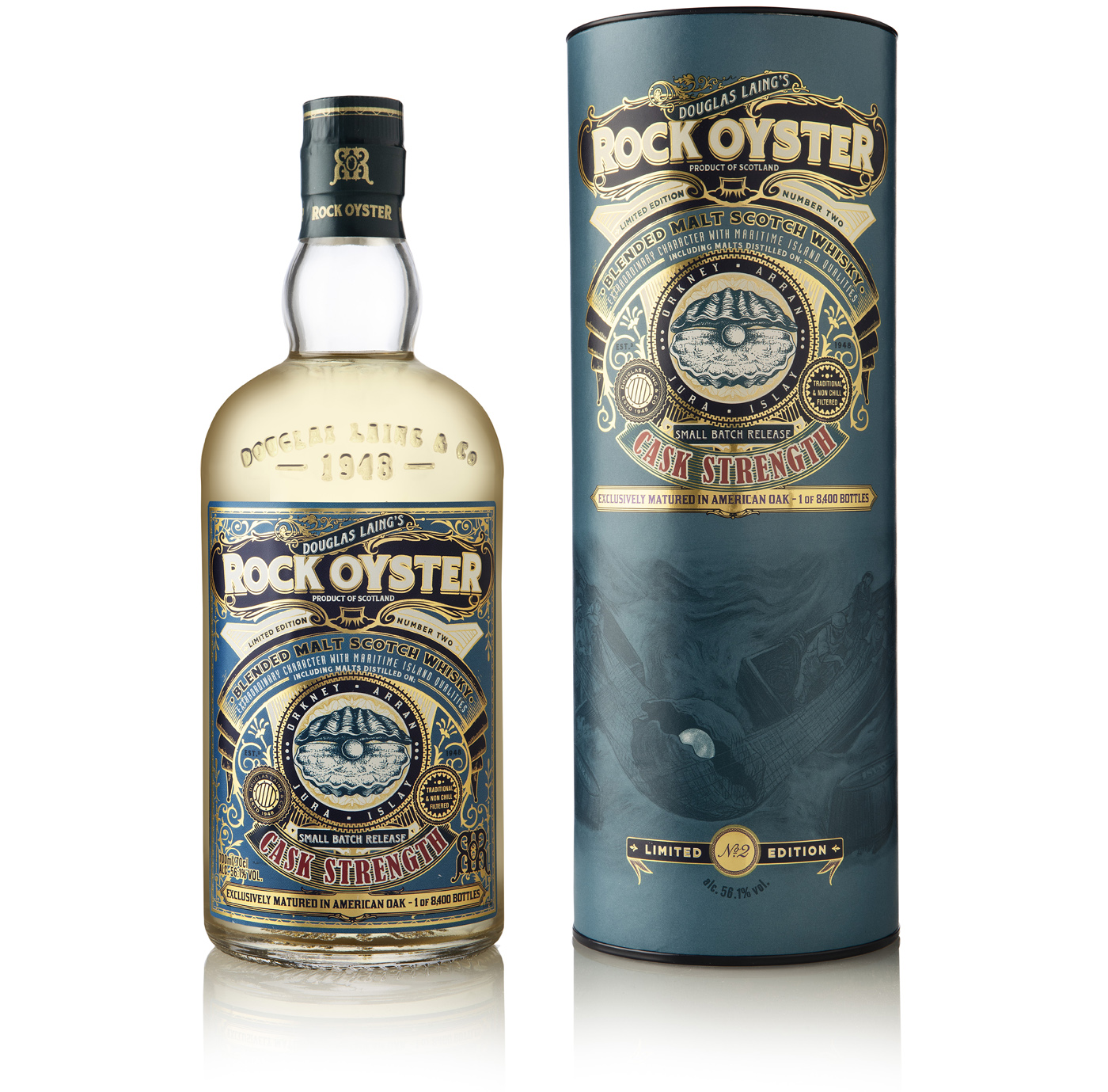 Douglas Laing komt met Rock Oyster Cask Strength Limited Edition Batch 2 bottle and tube
