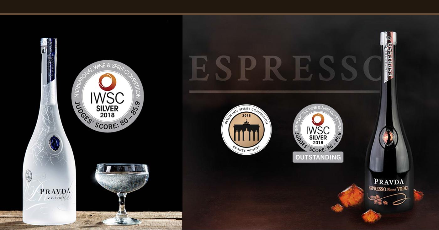 Pravda Vodka wint zilveren en bronzen medailles tijdens prestigieuze spirit competities 2018