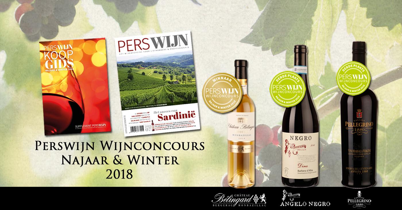 Drie medaillewinnaars in Perswijn Wijnconcours Najaar & Winter 2018