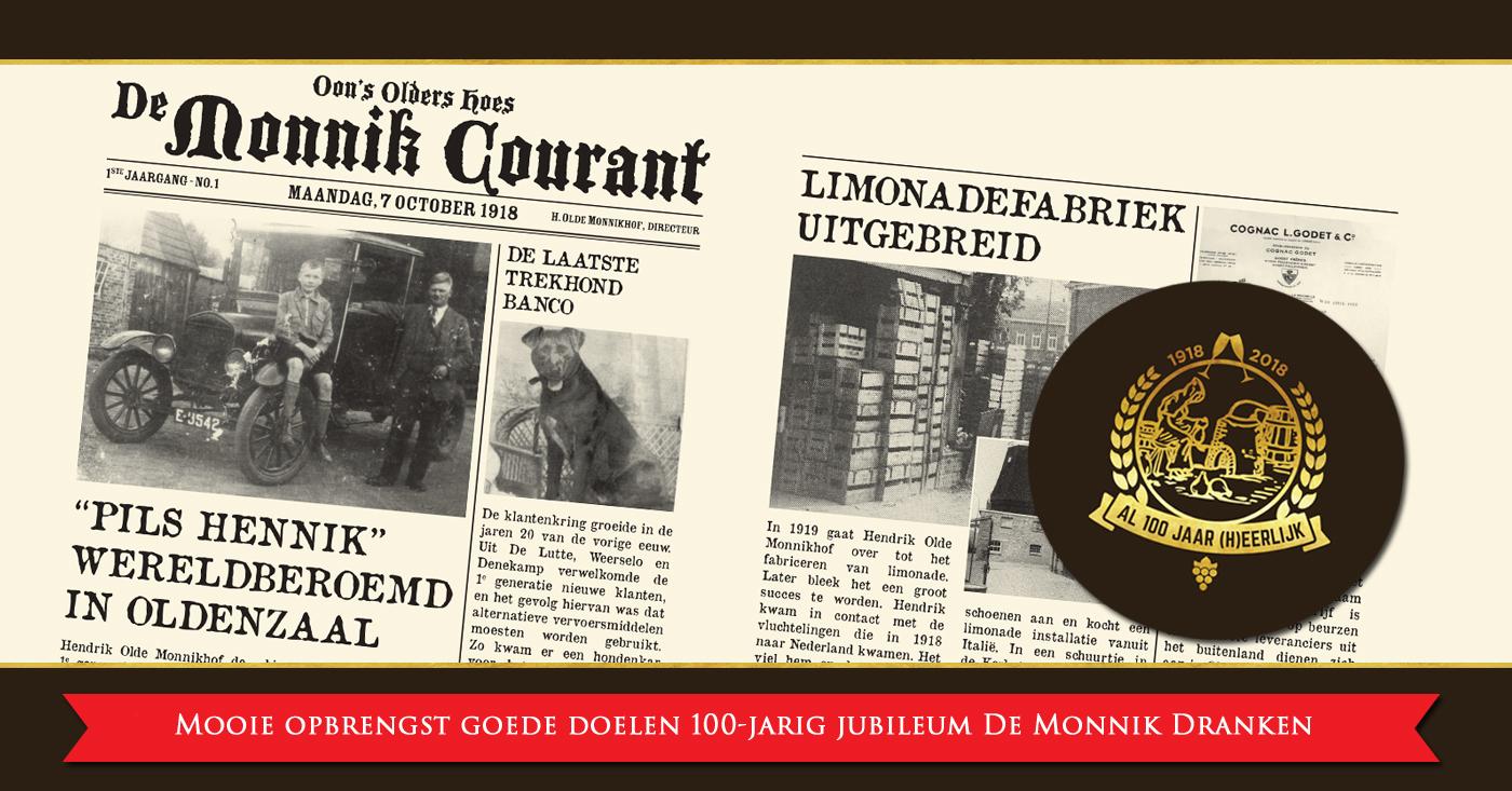 Mooie opbrengst goede doelen 100-jarig jubileum De Monnik Dranken