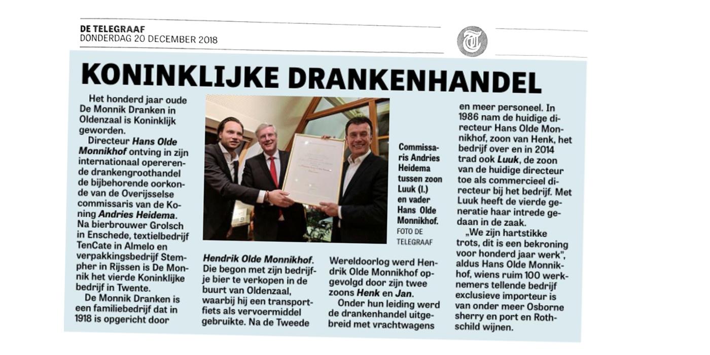 Krantenartikel De Monnik Dranken De Telegraaf