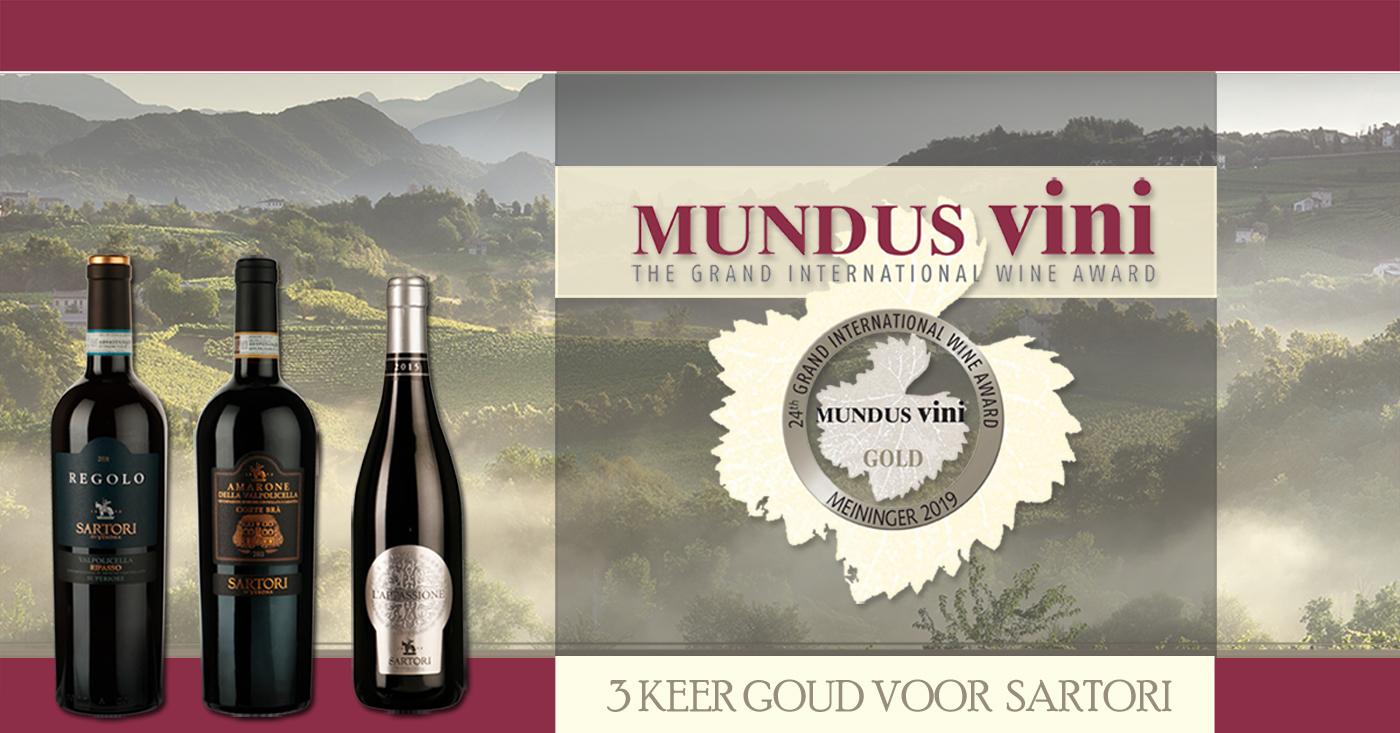 Driemaal goud voor Sartori wijnen bij Mundus Vini