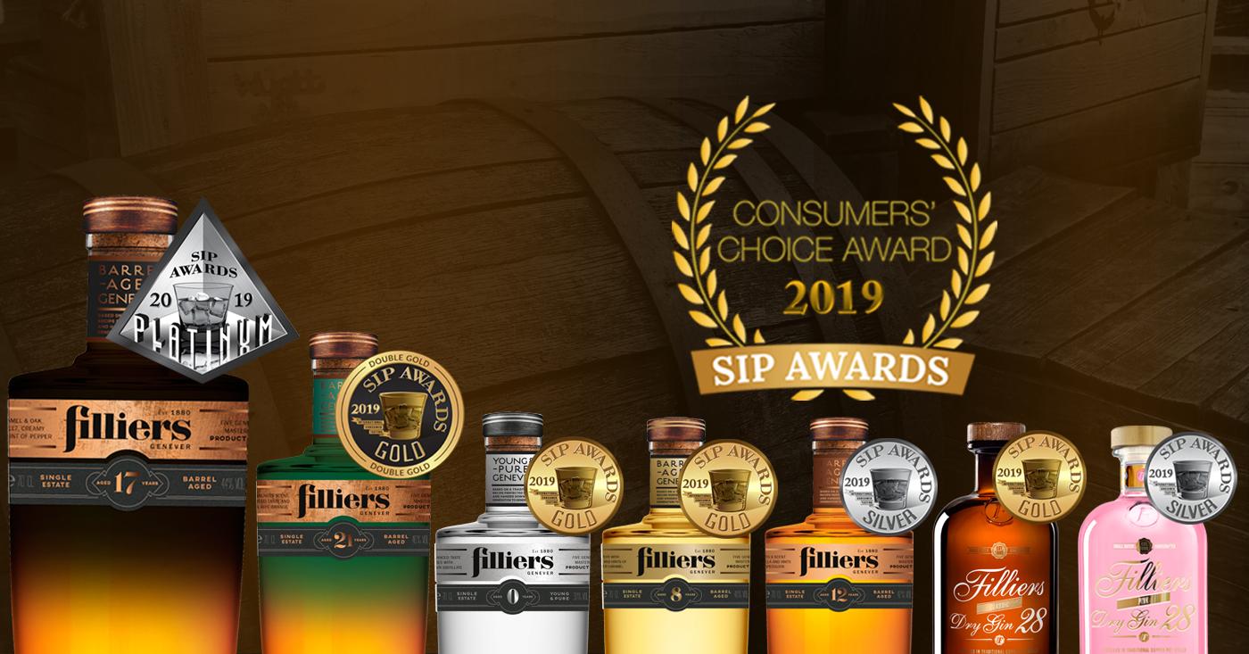 SIP AWARDS 2019 Zeven medailles voor Filliers Genever en Gin