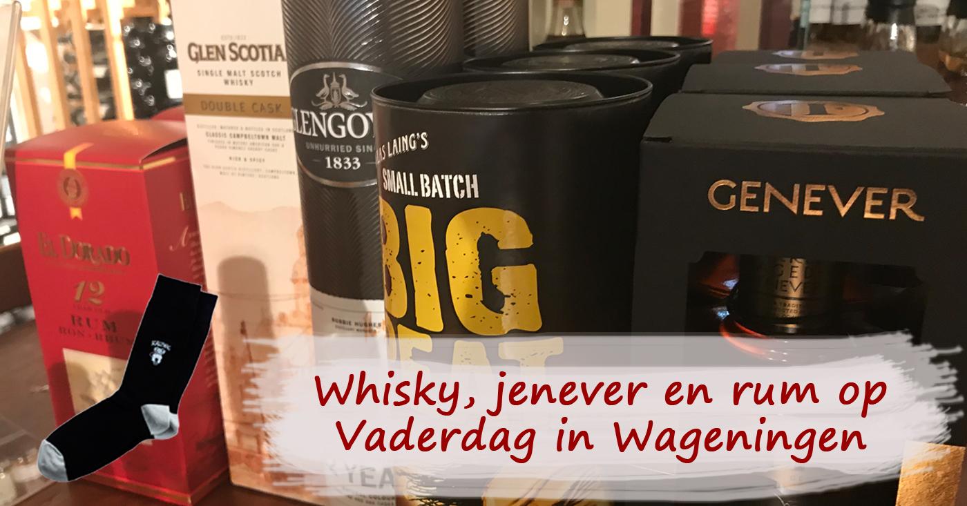 Whisky jenever en rum in plaats van sokken op Vaderdag in Wageningen