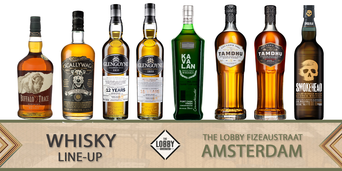 Line-up whisky The Lobby Amsterdam