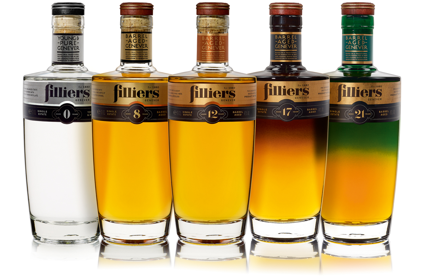 Filliers Barrel Aged Genevers line-up